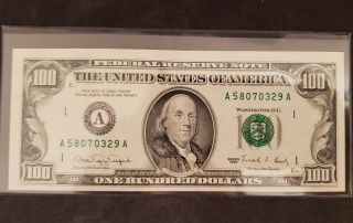 Old Style 1990 $100 Bill.  Rare One Hundred Dollar Bill.  Federal Reserve Note