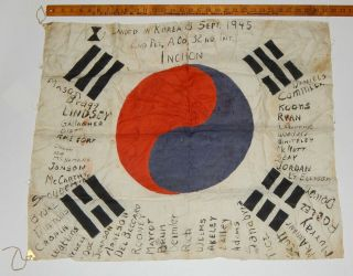 Rare Ww2 Gi Signed Korean Flag 1945 Wwii Korea War 32nd Inf Regt 7th Id