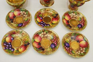 RARE 15 PC AYNSLEY ORCHARD GOLD GILT TEA SET 2
