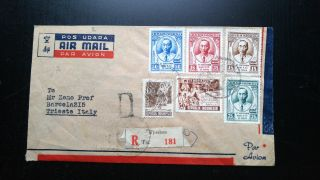 """Very Rare Indonesia 1955 """"registered"""" Cover To Italy With Multiple Stamps"""