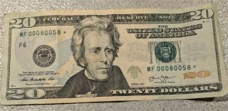 2013 $20 Star Note Rare Very Low Serial And 5 Of A Kind Serial