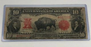 Extremely Rare 1901 $10 Buffalo Large Star Note - Short Serial Number - Wow