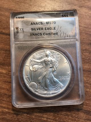 1996 American Silver Eagle Anacs Ms70 Perfect Coin Gorgeous Eye Appeal Rare