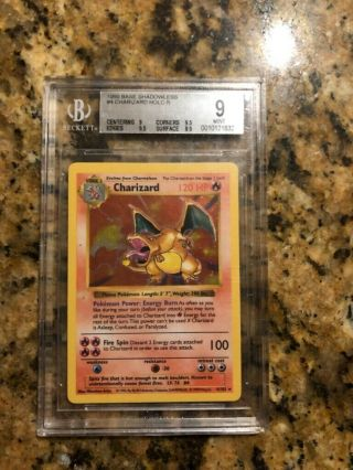 Pokemon Beckett Bgs 9 (psa 9) Shadowless Charizard Holo Rare Base Set 1999
