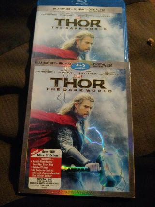 Thor: The Dark World 3d (3d,  Blu - Ray,  Hd Digital) Oop W/ Rare Slipcover Marvel