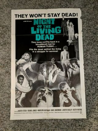 Night Of The Living Dead 1968 One Sheet Poster Zombies Very Rare
