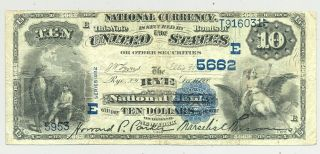Rare Type $10 1882 Second Charter Value Back Rye,  York - Westchester County