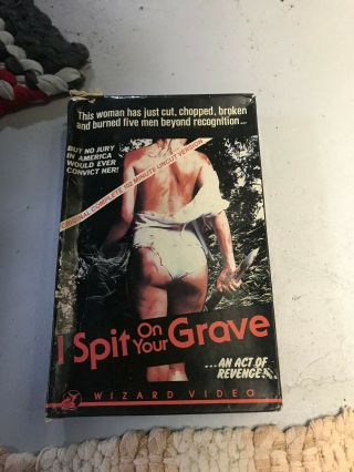 I Spit On Your Grave Wizard Horror Sov Slasher Rare Oop Vhs Big Box Slip