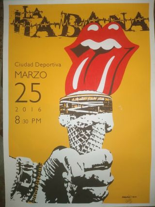 Rare Rolling Stones Cuba Concert Poster March 25 2016.  Artist Signed