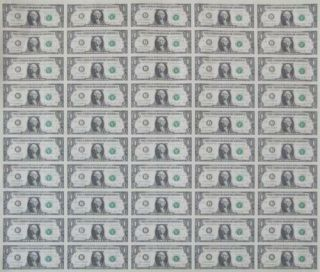 Uncut Us Currency Sheet 50 X $1 Bill Dollar Federal Reserve Notes - - Rare