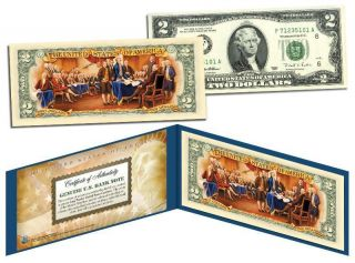 Rarely Seen Legal Tender Colorized $2 U.  S Bill