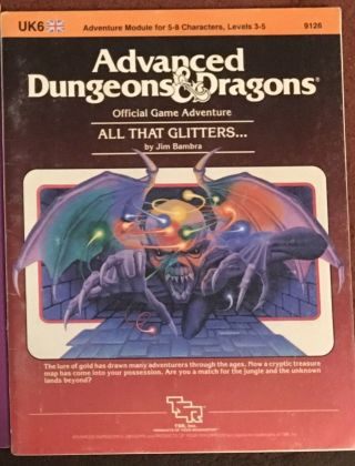 Ad&d 1st Edition Adventure Module - Uk6 All That Glitters.  (rare)