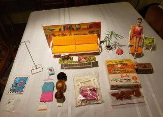 1964 Miss Barbie Rare With 2 Heads,  Go - Together Furniture And.