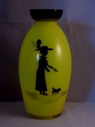 Rare Antique 'mary Gregory' Yellow Vase With Black Enamel Design
