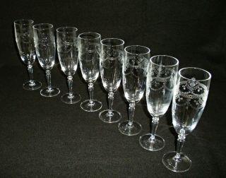 Rare 19th C Baccarat Crystal Glass 8 X Champagne Goblet W/ Great Etched Patterns