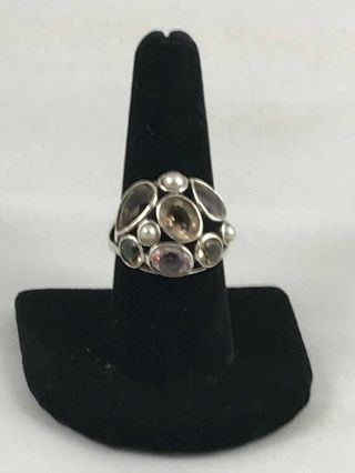 """Rare Silpada """" Sweet Embrace """" Sterling Silver,  Glass,  Pearl Size 9 R2442"""