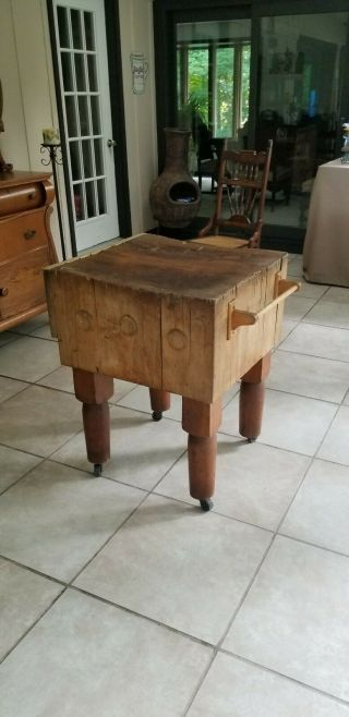 "Rare Antique Vintage Solid Maple Butcher Block Table 24 "" X 26 "" X 33 "" Tall.  1950s."