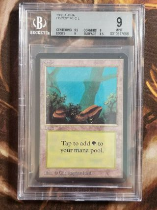 1993 Mtg Alpha Forest V1 Bgs 9.  0 Vintage Magic The Gathering