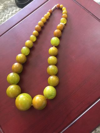 Rare Vintage Bakelite Green Amber Bead Necklace 9ct Clasp 67g