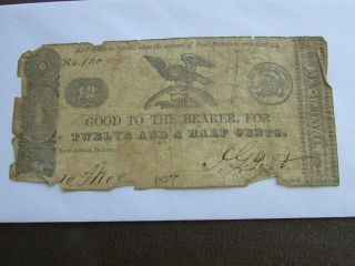 Rare 1837 Albany Indiana 12 1/2 Cents Obsolete Bank Note Currency