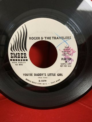 Roger & The Travelers Rare Promo 45 Ember Daddy's Little Girl Soul Hear