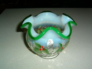 Rare Fenton Diamond Opalescent Green Crest Hand Painted Holly Vase Cond.