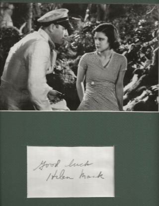 Son Of Kong Photo W/ Rare Hand Signed Card By Helen Mack Matted