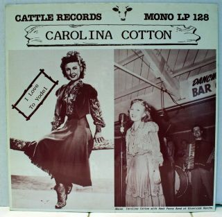 Rare Country Lp - Carolina Cotton - I Love To Yodel - Cattle Records Lp 128 - Import