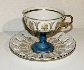 Rare Capodimonte Blue & Gold Footed Cup & Saucer Set Stamped N 2513