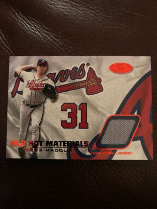 2002 Fleer Hot Materials Greg Maddux Game Worn Jersey Printers Proof 00/50 Rare