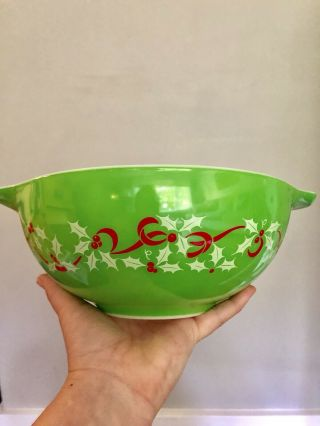 Rare Pyrex Htf Merry Christmas / Happy Year Mixing Bowl 443 Green Cinderella