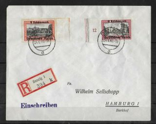 Germany Reich 1940 Registered Cover Danzig To Hamburg With Michel 728 - 729 Rare