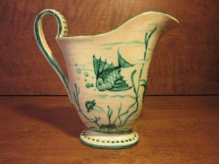 Antique Vintage Rare Footed Pitcher Hand Painted Signed 17 26 Msd Made Italy