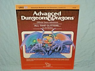Ad&d 1st Edition Adventure Module - Uk6 All That Glitters.  (rare And Exc, )