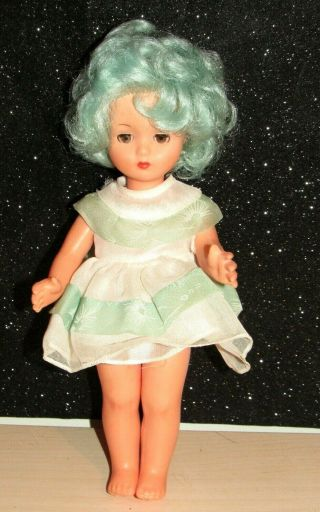 "Rare Htf 1960s Furga Doll W/blue Hair Brown Eyes Eyelashes 11 "" Made In Italy"