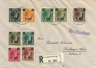 Luxembourg 1941,  Ww2 Rare German Occup.  Regist.  Cover To Reutlingen.  A517