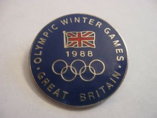 Rare Old 1988 Great Britain Winter Olympic Games Team Enamel Brooch Pin Badge