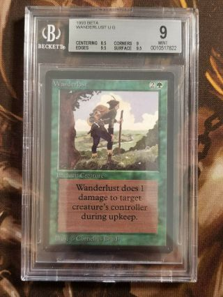 1993 Mtg Beta Wanderlust Bgs 9.  0 Vintage Magic The Gathering