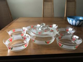 Pyrex Casserole 8 - Piece Rare Htf Frosted Red Tulip Pyrex Set