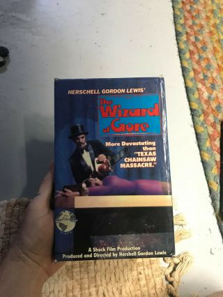 The Wizard Of Gore Horror Sov Slasher Rare Oop Vhs Big Box Slip
