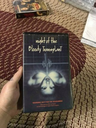 Night Of The Bloody Transplant Horror Sov Slasher Rare Oop Vhs Big Box Slip