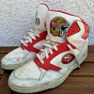 Vintage 90s Rare Starter San Francisco 49ers High Top Sneakers White Red K130