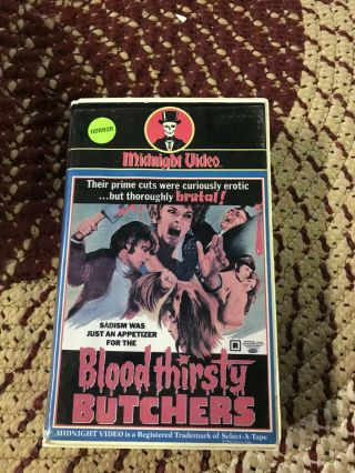 Midnight Blood Thirsty Butchers Horror Sov Slasher Rare Oop Vhs Big Box Slip