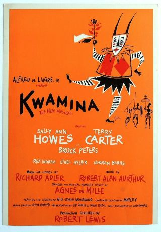 Triton Offers Rare Orig 1961 Bway Poster Kwamina Musical Sally Ann Howes See Pic