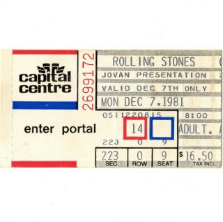 The Rolling Stones Concert Ticket Stub Landover Md 12/7/81 Tattoo You Tour Rare