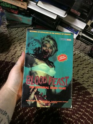 Blood Feast Horror Sov Slasher Rare Oop Vhs Big Box Slip