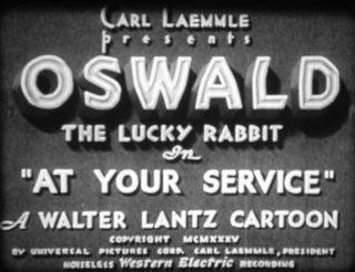"Rare 16mm Universal 1935 Oswald "" At Your Service "" Cartoon Sound"