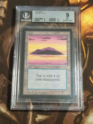 1993 Mtg Beta Island V1 C L Bgs 9.  0,  Magic The Gathering 1