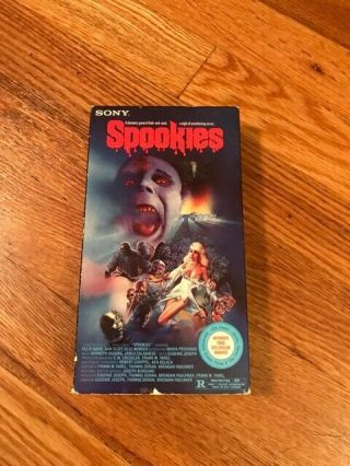 Spookies Horror Sov Slasher Rare Oop Vhs Big Box Slip