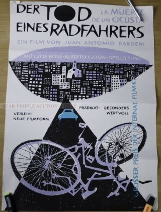 Bardem - Lucia Bose - Death Of A Cyclist Rare German Poster